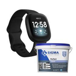 Action Sigma Matt blanc 5OL + Smartwatch Fitbit versa 3 noir